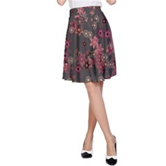 Pink Wine Floral Print A-line Skirt