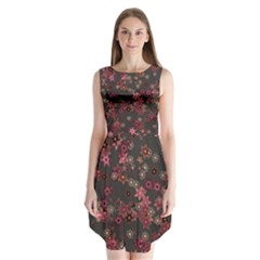 Pink Wine Floral Print Sleeveless Chiffon Dress