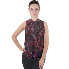 Pink Wine Floral Print Mock Neck Chiffon Sleeveless Top by SpinnyChairDesigns