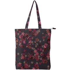 Pink Wine Floral Print Double Zip Up Tote Bag