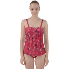 Red Wildflower Floral Print Twist Front Tankini Set