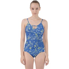 Yellow Flowers On Blue Cut Out Top Tankini Set