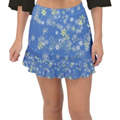 Yellow Flowers On Blue Fishtail Mini Chiffon Skirt