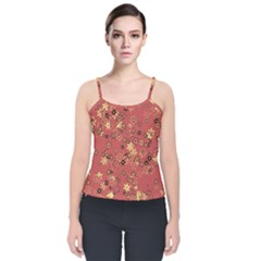 Gold And Rust Floral Print Velvet Spaghetti Strap Top