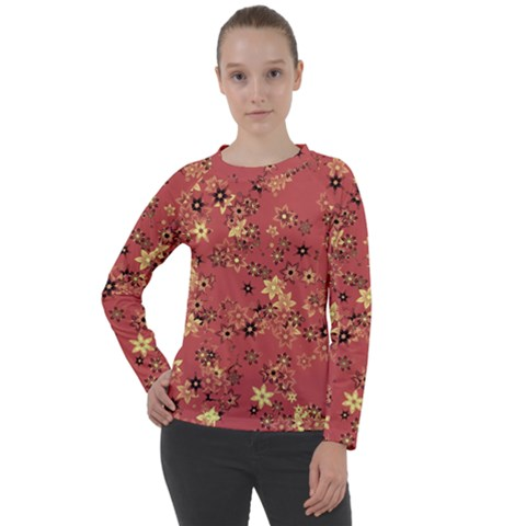 Gold And Rust Floral Print Women s Long Sleeve Raglan Tee by SpinnyChairDesigns