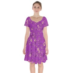 Gold Purple Floral Print Short Sleeve Bardot Dress by SpinnyChairDesigns
