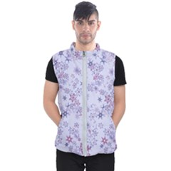 Pastel Purple Floral Pattern Men s Puffer Vest