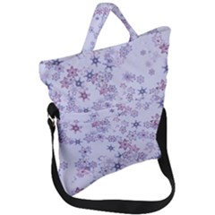 Pastel Purple Floral Pattern Fold Over Handle Tote Bag