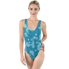 Teal Blue Floral Print High Leg Strappy Swimsuit