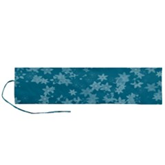 Teal Blue Floral Print Roll Up Canvas Pencil Holder (l)