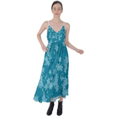 Teal Blue Floral Print Tie Back Maxi Dress by SpinnyChairDesigns