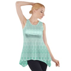 Biscay Green Floral Print Side Drop Tank Tunic