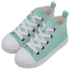 Biscay Green Floral Print Kids  Mid-top Canvas Sneakers by SpinnyChairDesigns