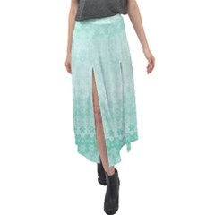 Biscay Green Floral Print Velour Split Maxi Skirt by SpinnyChairDesigns