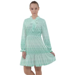 Biscay Green Floral Print All Frills Chiffon Dress