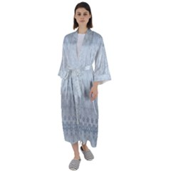 Faded Blue Floral Print Maxi Satin Kimono by SpinnyChairDesigns