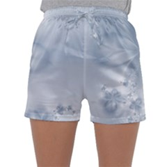 Faded Blue Floral Print Sleepwear Shorts