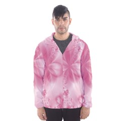 Blush Pink Floral Print Men s Hooded Windbreaker by SpinnyChairDesigns