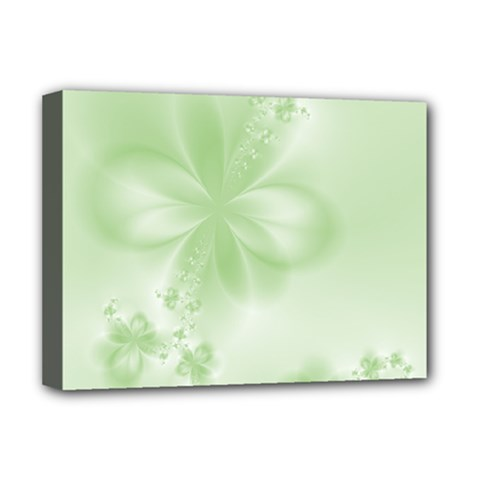 Tea Green Floral Print Deluxe Canvas 16  X 12  (stretched)