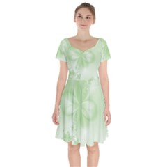 Tea Green Floral Print Short Sleeve Bardot Dress by SpinnyChairDesigns