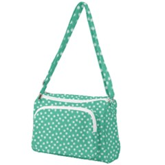 Biscay Green White Floral Print Front Pocket Crossbody Bag