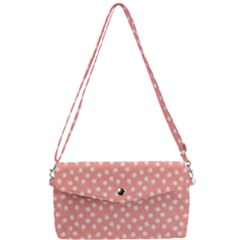 Coral Pink White Floral Print Removable Strap Clutch Bag
