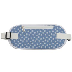 Faded Blue White Floral Print Rounded Waist Pouch