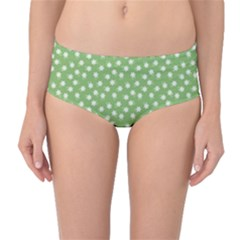 Spring Green White Floral Print Mid-waist Bikini Bottoms by SpinnyChairDesigns