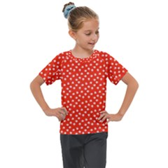 Red White Floral Print Kids  Mesh Piece Tee