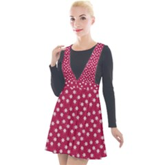 Magenta Rose White Floral Print Plunge Pinafore Velour Dress