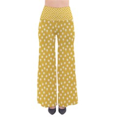Saffron Yellow White Floral Pattern So Vintage Palazzo Pants by SpinnyChairDesigns