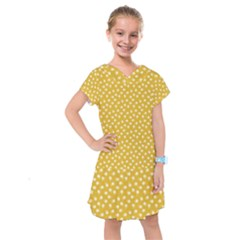 Saffron Yellow White Floral Pattern Kids  Drop Waist Dress