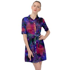 Abstract Floral Art Print Belted Shirt Dress