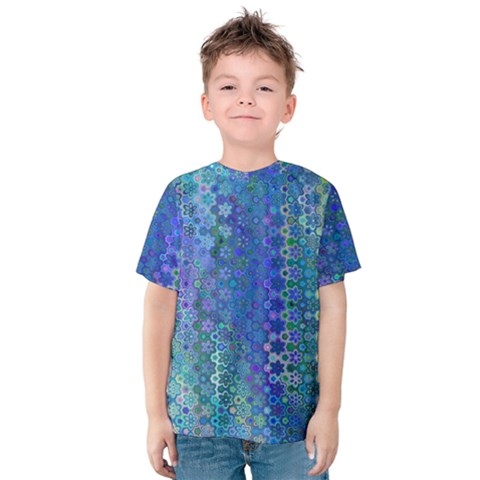 Boho Blue Wildflower Print Kids  Cotton Tee by SpinnyChairDesigns