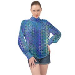 Boho Blue Wildflower Print High Neck Long Sleeve Chiffon Top by SpinnyChairDesigns