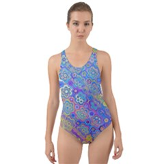 Boho Retro Wildflower Print Cut-out Back One Piece Swimsuit by SpinnyChairDesigns