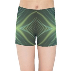 Abstract Green Stripes Kids  Sports Shorts by SpinnyChairDesigns