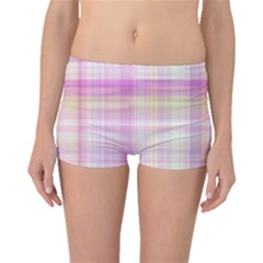 Pink Madras Plaid Boyleg Bikini Bottoms by SpinnyChairDesigns