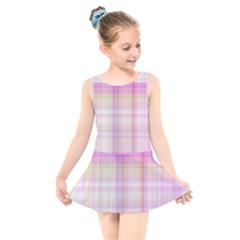 Pink Madras Plaid Kids  Skater Dress Swimsuit by SpinnyChairDesigns