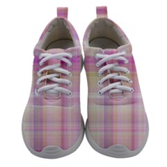 Pink Madras Plaid Athletic Shoes by SpinnyChairDesigns