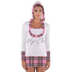 Pink Plaid Long Sleeve Hooded T-shirt by 80generationsapparel