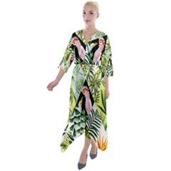 Flamingo Ropical Quarter Sleeve Wrap Front Maxi Dress by designsbymallika