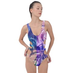 Purple Tropical Pattern Side Cut Out Swimsuit