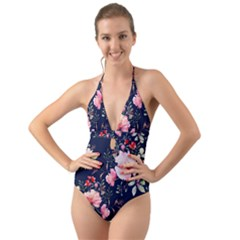 Printed Floral Pattern Halter Cut-out One Piece Swimsuit by designsbymallika