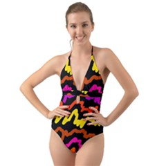 Multicolored Scribble Abstract Pattern Halter Cut-out One Piece Swimsuit by dflcprintsclothing