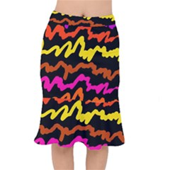 Multicolored Scribble Abstract Pattern Short Mermaid Skirt by dflcprintsclothing