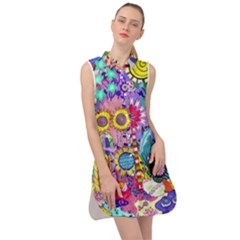 Double Sunflower Abstract Sleeveless Shirt Dress by okhismakingart