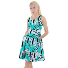 Doodle Art Minimal Drawing Pen Knee Length Skater Dress With Pockets
