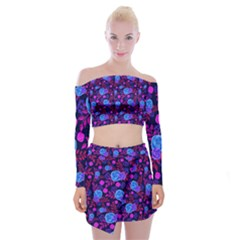 Backgroung Rose Purple Wallpaper Off Shoulder Top With Mini Skirt Set