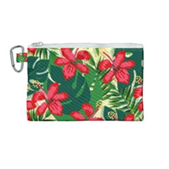 Floral Pink Flowers Canvas Cosmetic Bag (medium)